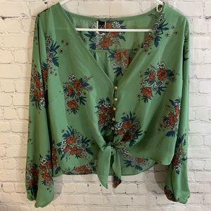 Medium Windsor Long Sleeve Green Floral Blouse